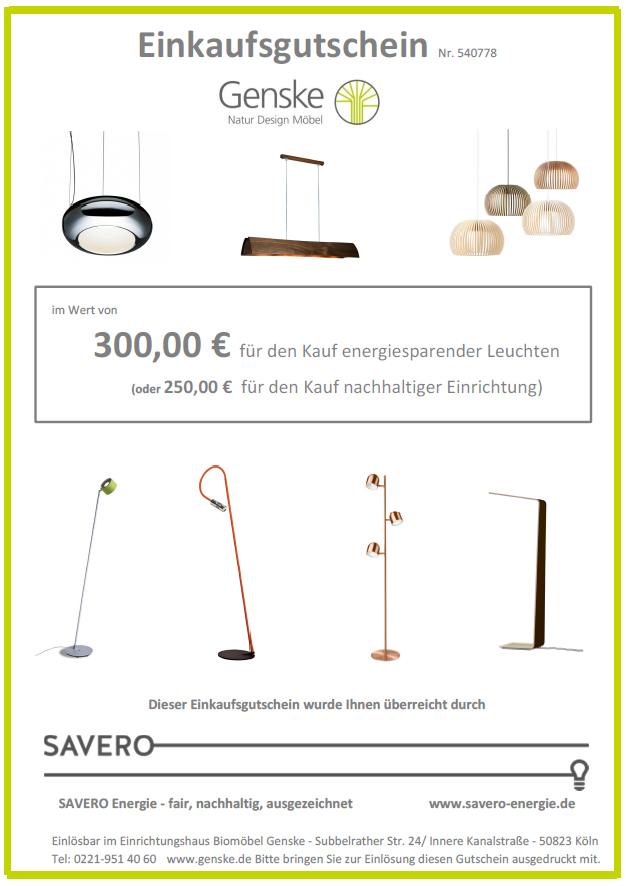Gutschein für Genske Natur Design Möbel gesponsert von Savero Die Energieagenten